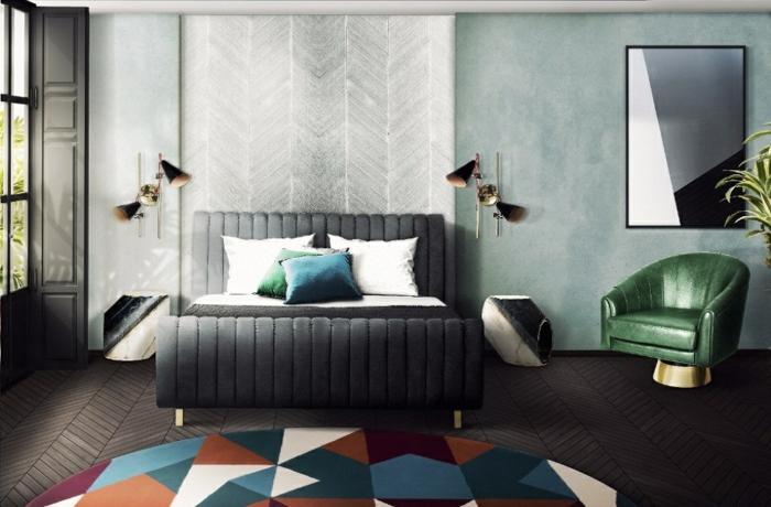 colores para habitaciones, propuesta moderna en tonos oscuros, con detalles en verde y azul, cabecero original, alfombra de colores