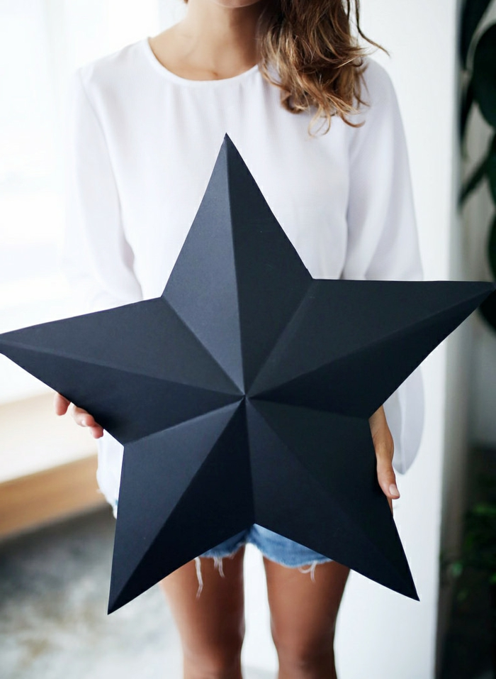 estrellas de navidad, adornos de cartón negro en forma de estrella, decoración original para tu hogar