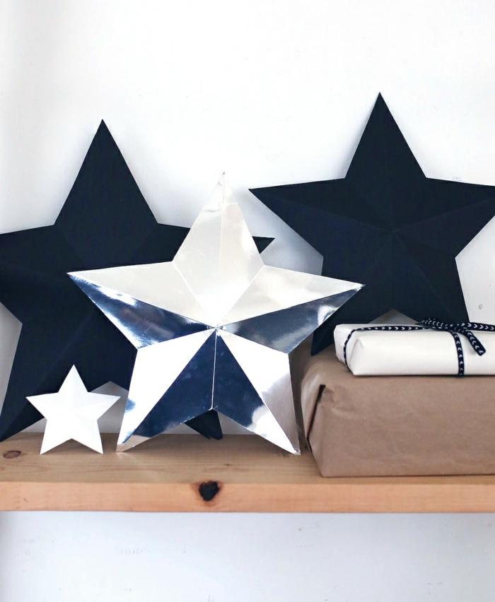 estrellas navidad, bonita decoración en negro blanco y plateado en forma de estrellas, emabalajes navideños
