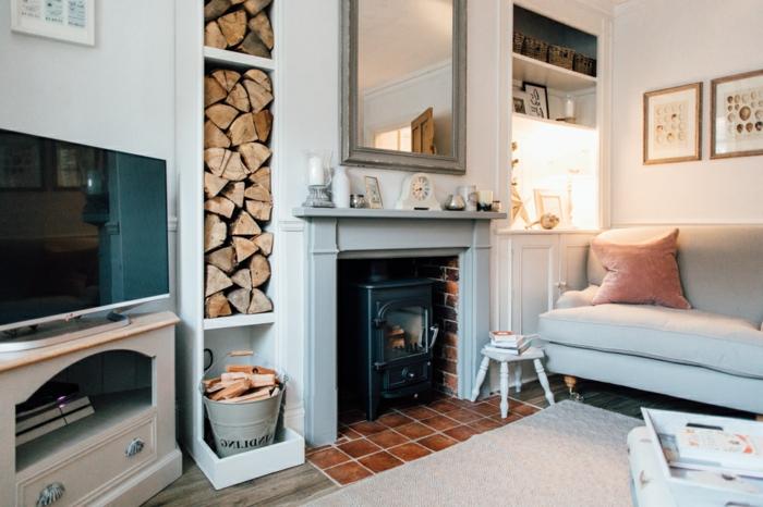 estufas de leña, almacenamiento de leña decorativo, tendencias 2018 en el interior, muebles en blanco con detalles en colores pastel
