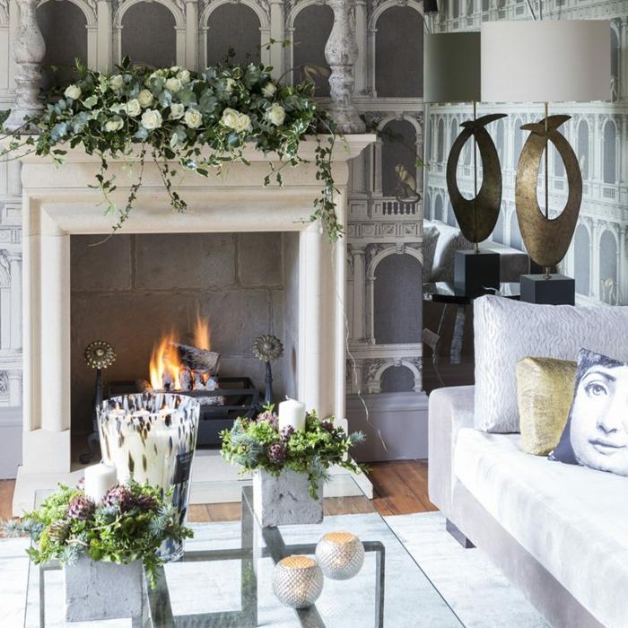 estufas de leña, salón moderno con decoración de flores, vinilo de pared y cojines decorativos, mesa de vidrio
