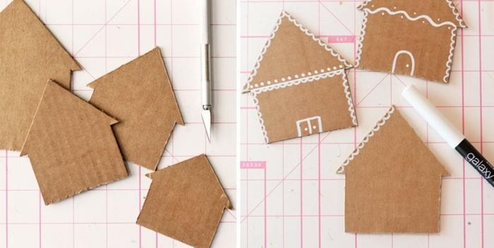 manualidades sencillas, ideas navideñas paso a paso. tarjetas decorativas de cartón elaboradas por niños,