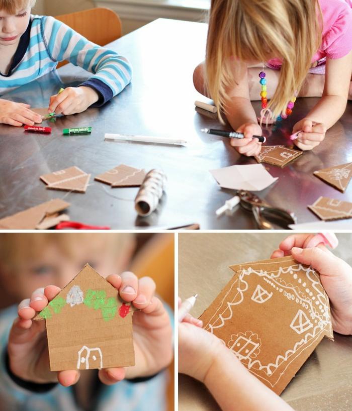 manualidades sencillas, pasatiempos para los pequeños, idea de Navidad original y simple DIY