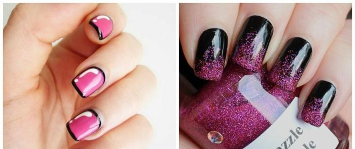 diseño de uñas, dos propuestas en negro y color fucsia, bonito contraste entre los colores, uñas moderna de forma cuadrada
