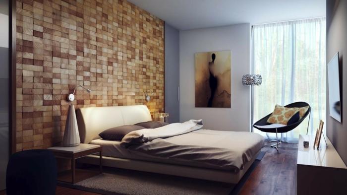 cabeceros de cama originales, idea interesante con cabezal de madera que llega hasta el techo, habitación estilizada en beige