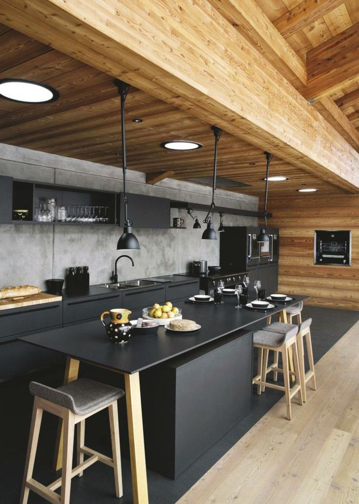 barras de cocina, elegante cocina en negro y beige, techo de madera con grandes lámparas empotradas de forma redonda