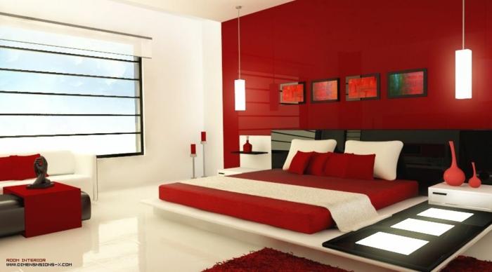 habitaciones de matrimonio, dormitorio contemporáneo en estilo minimalista, una pared en rojo fuego, iluminación moderna