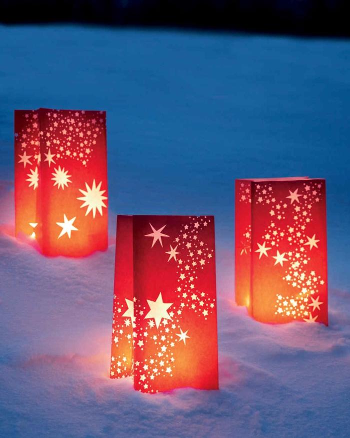 tipos de estrellas, linternas caseras decoradas de estrellas de diferente tamaño, manualidades faciles y originales para navidad