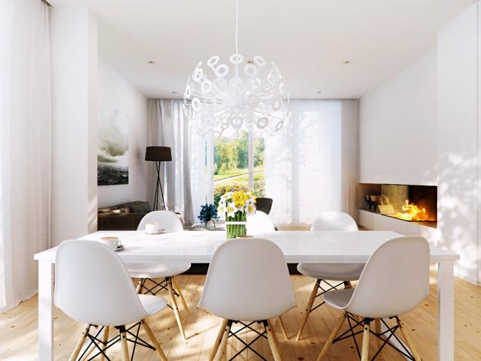 comedores, propuesta en blanco con suelo de parquet, araña con ornamentos moderna en blanco, techo alto y paredes en blanco