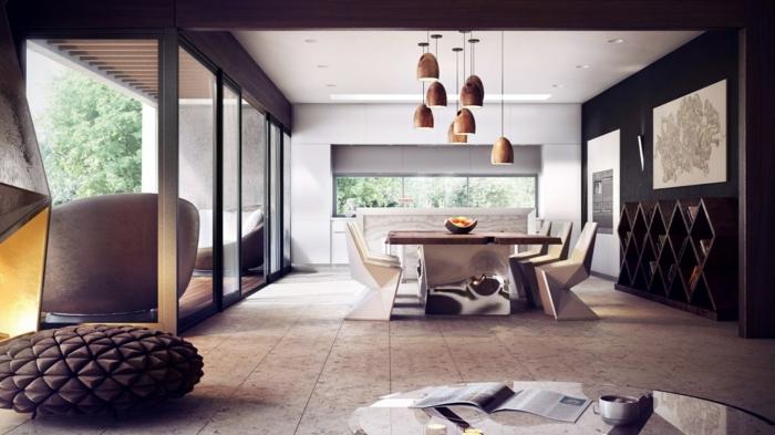 comedores, precioso ejemplo de comedores modernos, muebles de madera, sillas elegantes modernas, estantería de madera en rombos