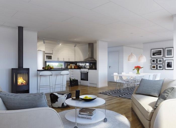 chimeneas de leña, espacioso salón moderno con comedor y cocina abierta, estufa de acero, interior en blanco