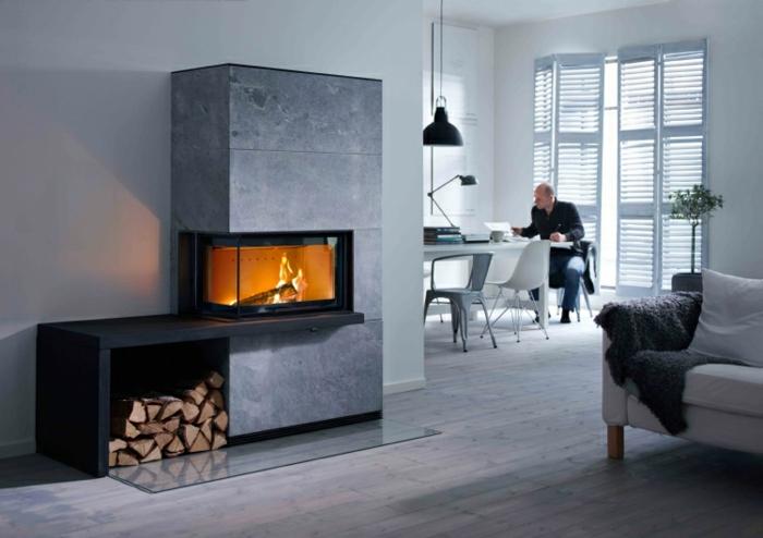 estufas de leña, interior moderno minimalista, grande armario con estufa y almacenamiento de leña, comedor en blanco y gris