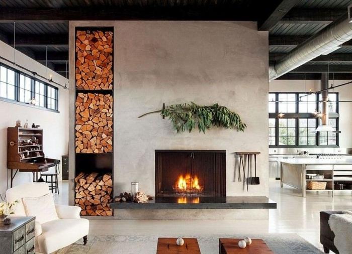 estufa leña, ambiente en estilo moderno, detalles de madera, pared lata con almacenamiento de leña decorativo, estilo industrial