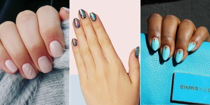 uñas de gel decoradas, tres ideas modernas para la temporada nueva, ideas en azul y rosado