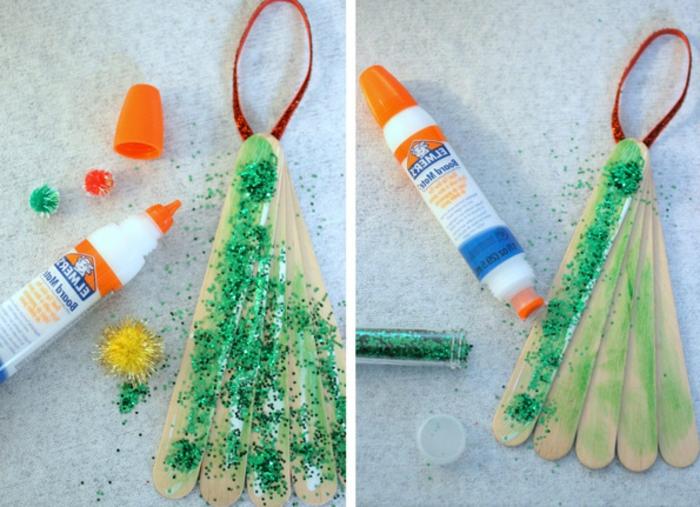 manualidades sencillas, idea con purpurina, manudalidades navideñas fáciles de hacer de niños