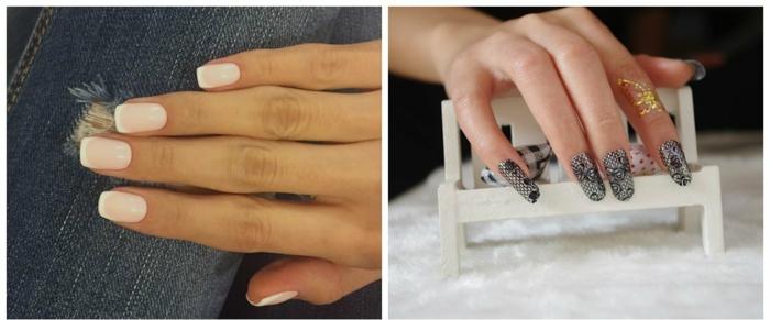 uñas largas, diseños modernos de uñas en manicura francesa y manicura con elementos de encaje