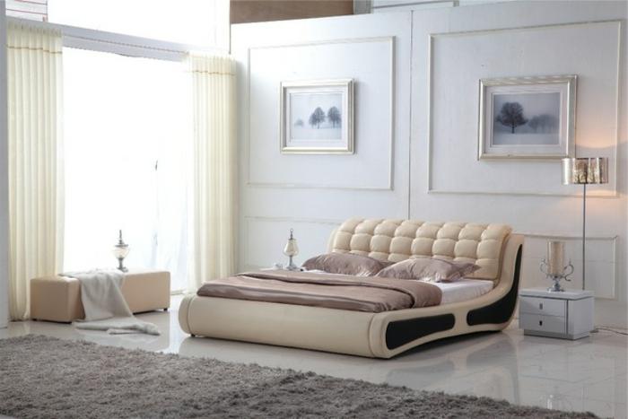 cabeceros de cama originales, bonita habitación luminosa en tonos claros, cama moderna en crema, suelo de mármol con alfombra en gris