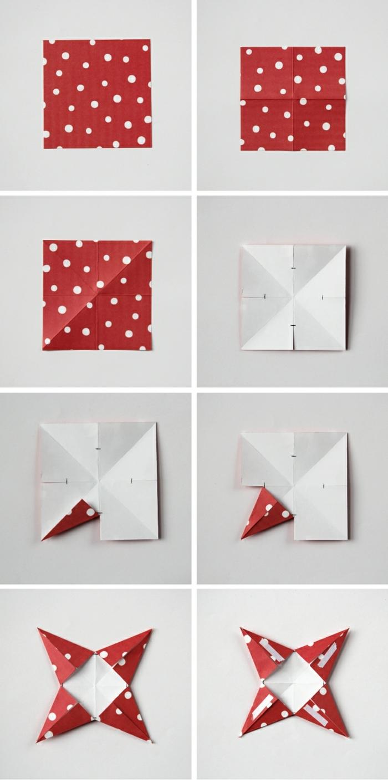 como hacer estrellas de papel, pasos para elaborar una estrella tridimensional de ocho puntos, papel rojo en puntos blancos