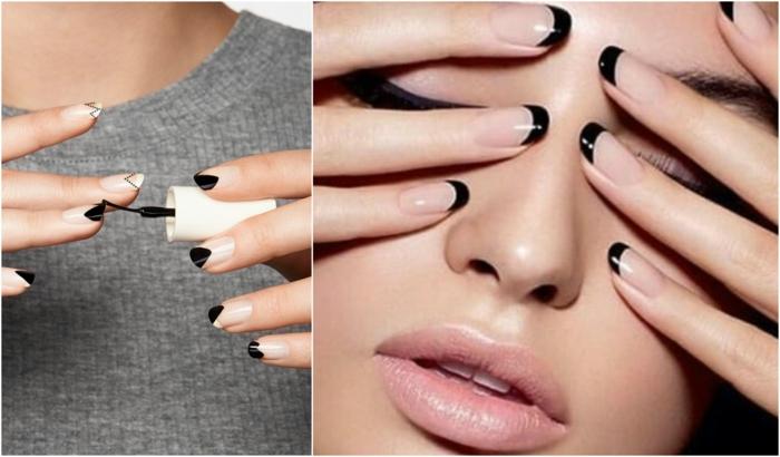 diseños de uñas, tendencias en la decoración de uñas 2017 -2018, manicuras minimalistas, manicura francesa en negro