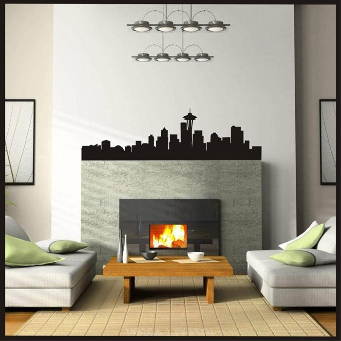 vinilos decorativos, sala de estar con chimenea, vinilo en negro sçcon edificios altos de una ciudad