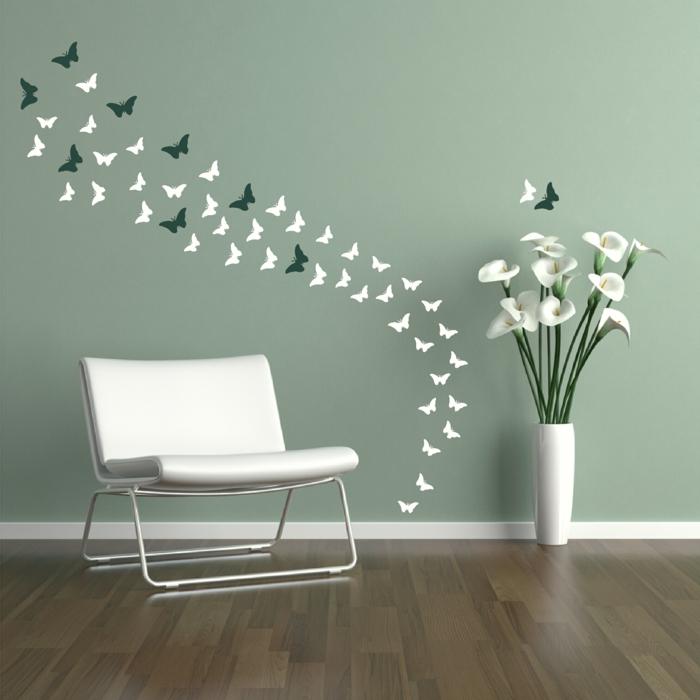 vinilos pared, idea de vinilo delicado y elegante con mariposas pequeñas en blanco y verde oscuro