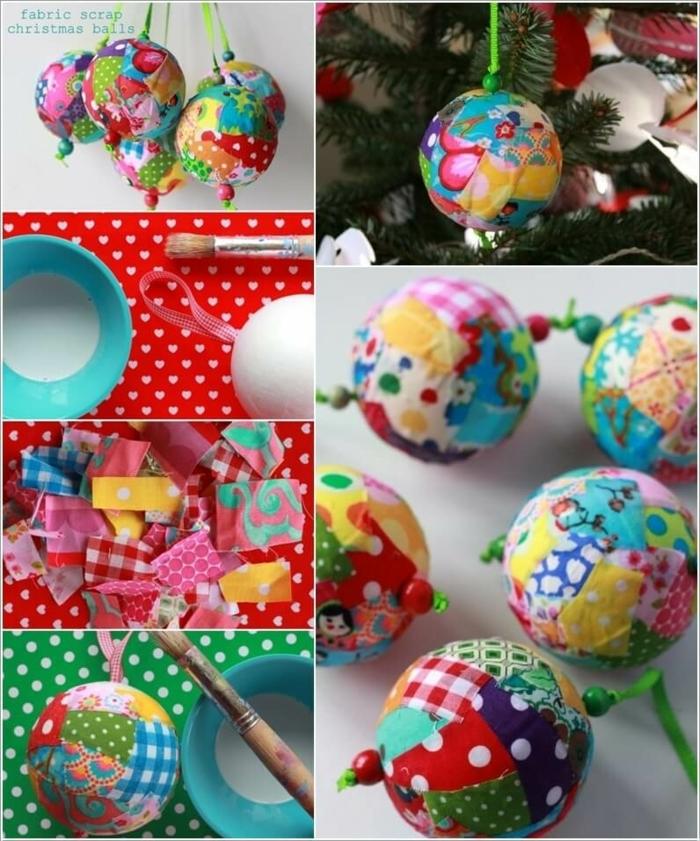 bolas de navidad, adornos navideños hechos a mano, bolas de poliestireno hechas con decoupage en muchos colores