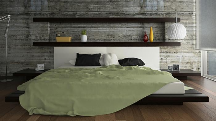 cabeceros de cama originales, estantería empotrada a la cama, cama beige funcional, habitación en estilo minimalista, lámpara de papel en forma de globo