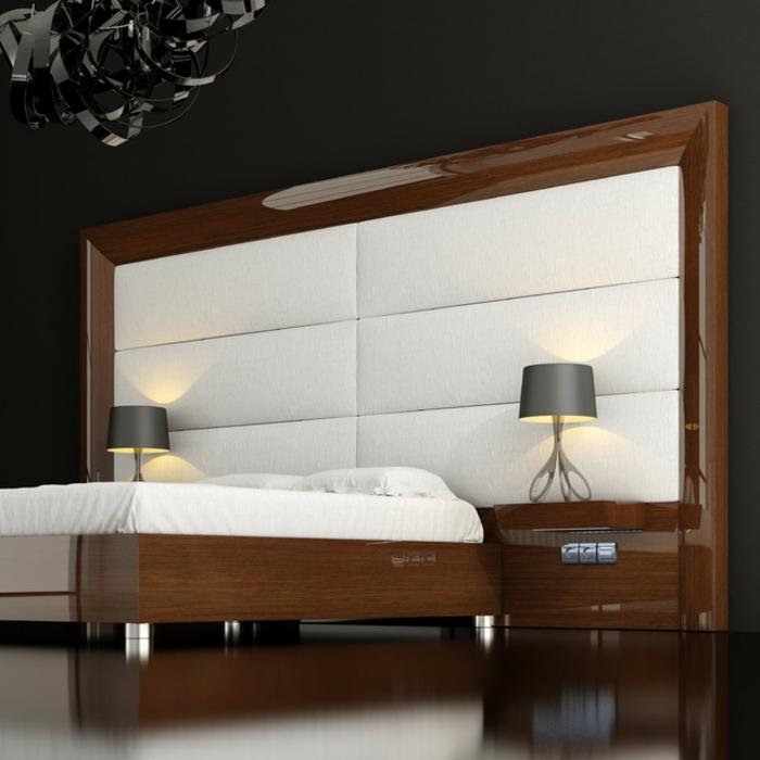 cabeceros originales, dormitorio en estilo minimalista con cama moderna de madera y peluche, cabezal masivo y paredes en negro