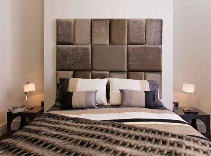cabecero cama, variante de peluche en capitoné, cama matrimonio grande, optimización de espacio, dos mesillas de madera