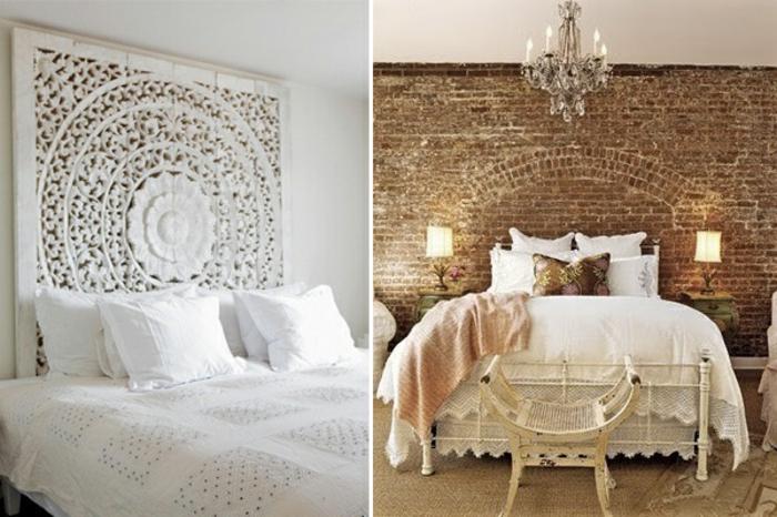 simple como hacer un cabecero dos ideas de dormitorio vintage en blanco y marrn cabecero with cabeceros caseros murales - Cabezales De Cama Caseros