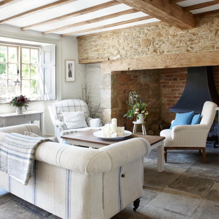 chimeneas rusticas, interior con detalles contrastes, muebles en blanco, rincón con chimenea con paredes de madera y piedra