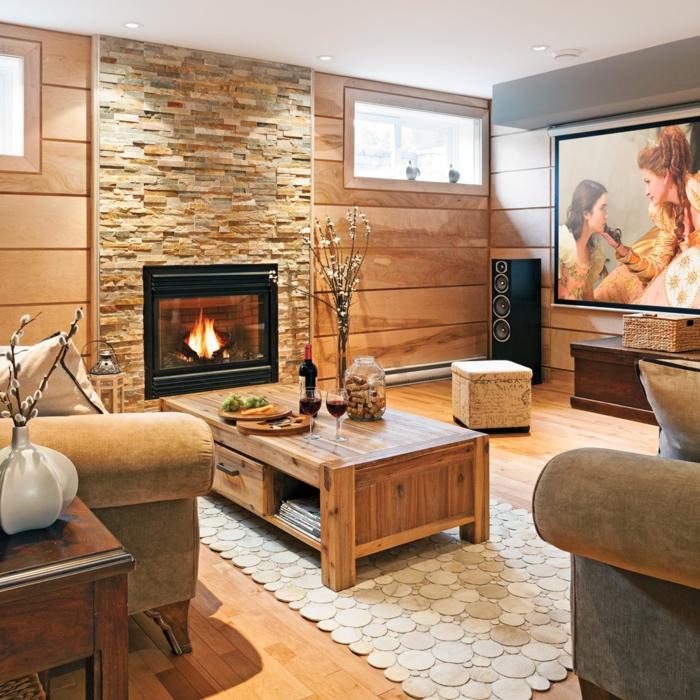 chimeneas rusticas, salón con aire rústico, sillones de peluche vintage, muebles de madera y chimenea de leña