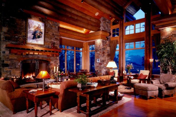chimeneas rusticas, espacioso salón con grandes ventanales, paredes de madera y muebles vintage