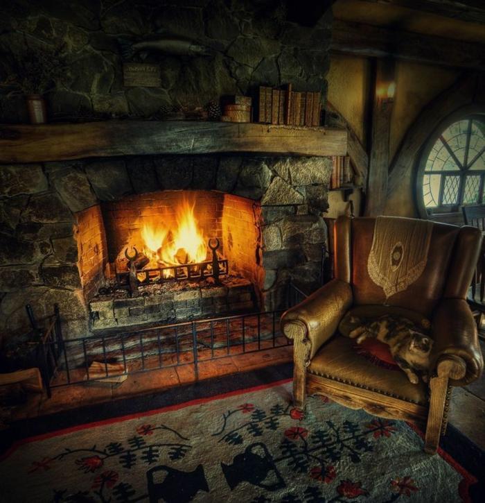 chimeneas rusticas, rincón oscuro y acogedor, chimenea antigua de piedra, sillón vintage de piel con un gato