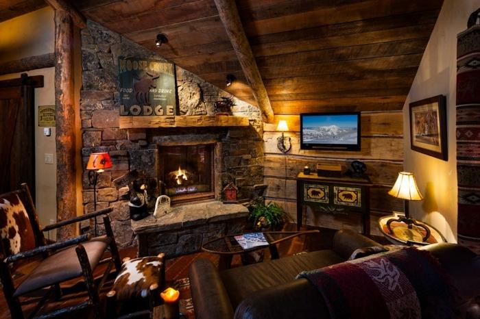 chimeneas rusticas, ambiente acogedor en estilo rústico, chimenea de piedra, colores cálidos