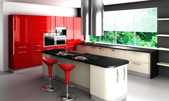 cocina tradicional, cocina moderna en blanco, negro y rojo, propuesta hi-tec, armarios rojos con esmalte
