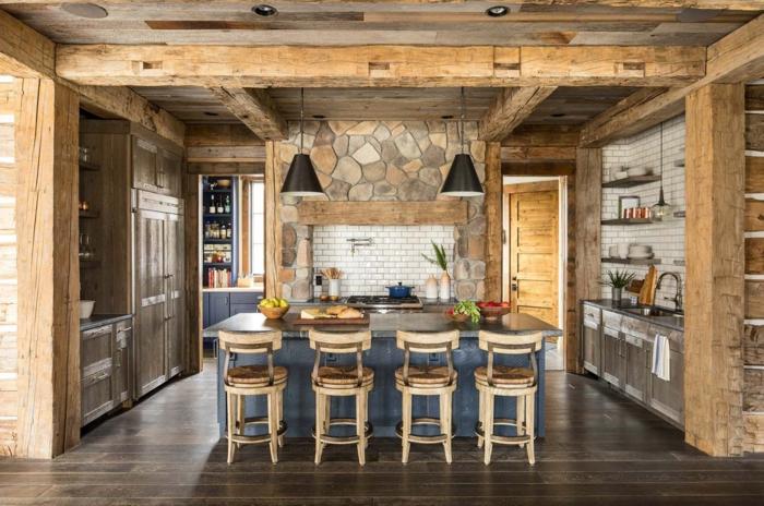 barra cocina, ejemplo de cocina abierta al salón con barra en el centro, propuesta en estilo rústico, barra en azul