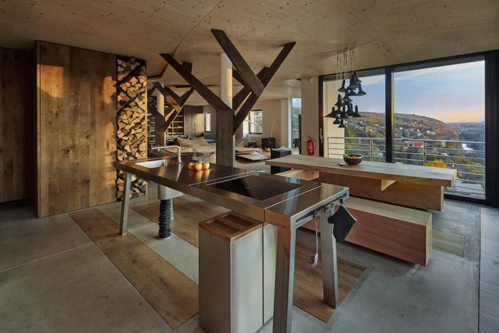 barra cocina, barra alta de metal en grande salón con vista, espacio multinacional, elementos de madera