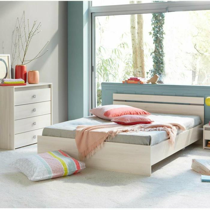 dormitorios modernos, propuesta muy elegante para un dormitorio infantil, colores claros y fríos, muebles de madera