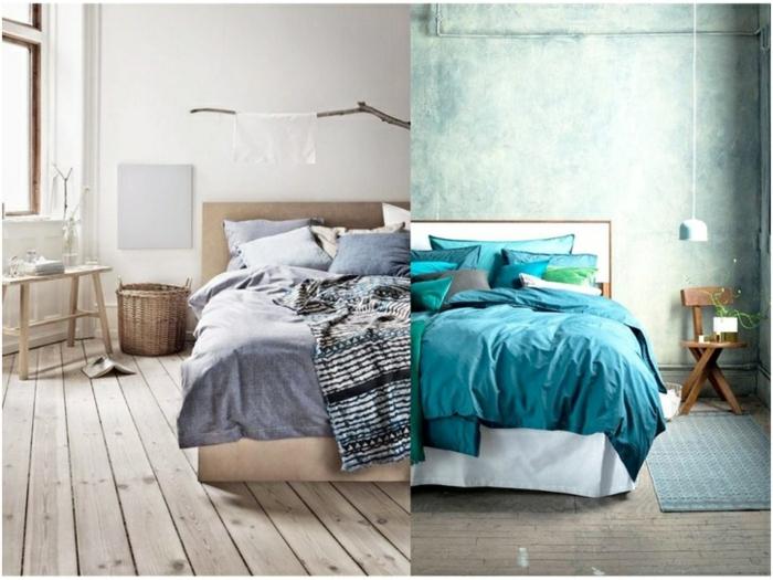 combinaciones de colores, dos ideas modernas en gris y azul para habitaciones de matrimonio, suelo y muebles de madera