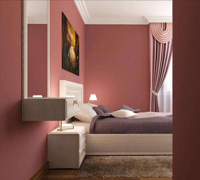 como pintar una habitacion, paredes en color salmón, habitación elegante en rosa, cortinas de satén, cama de matrimonio grande