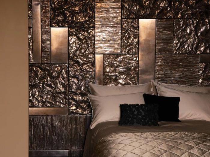 dormitorios modernos, habitación en marrón con toque lujoso, cojines pequeños negros, dormitorio en beige