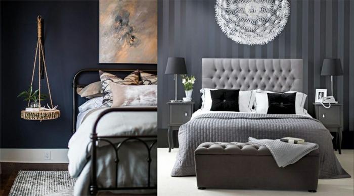 colores para habitaciones, dos propuestas en azul oscuro y gris, papel pintado elegante, camas matrimonio, pie de cama en capitoné