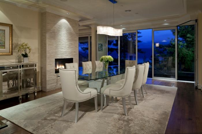 muebles de salon modernos, precioso comedor en blanco con iluminación original, sillas blancas tapizadas en piel, alfombra de peluche