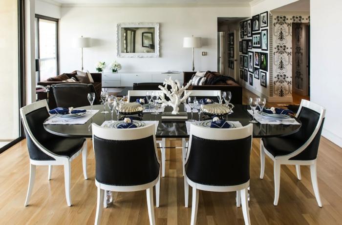 muebles de salon, salon grande con espacio para comedor, muebles en blanco y negro, suelo de parquet, toque clásico