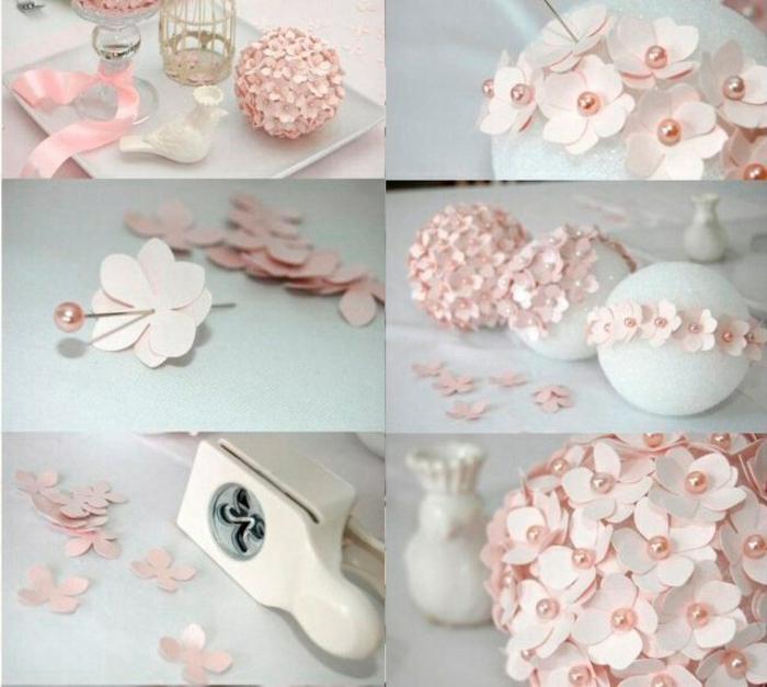 bolas de navidad, materiales y pasos para elaborar bonitos ornamentos en color rosa, bolas de poliestireno y decoración de flores