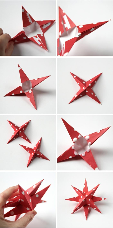 estrellas de papel, manualidades faciles de Navidad, estrella de papel en estampado de puntos
