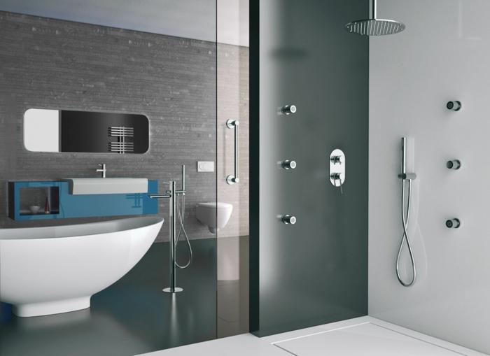 baños pequeños con ducha, baño en blanco y gris, balera grande, ducha de obra con efecto lluvia y plato acrílica