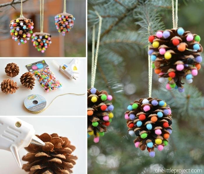 adornos de navidad caseros, pompones simpáticos de piñas, adornos navideños en colores, piñas colgantes