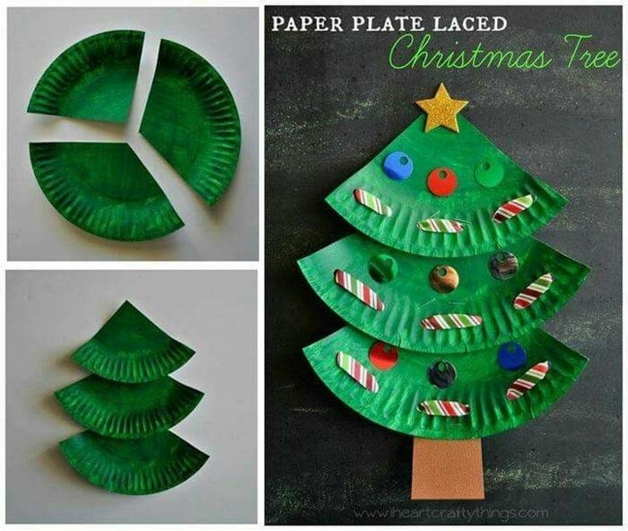 adornos de navidad caseros, manualidades para los más pequeños, árbol navideño hecho de cubo de cartón pintado en verde